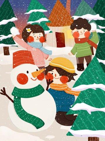雪だるま雪合戦かわいいシンプルなフラットオリジナルイラスト雪だるま  スノーボールファイト  こども PNGおよびPSD illustration image