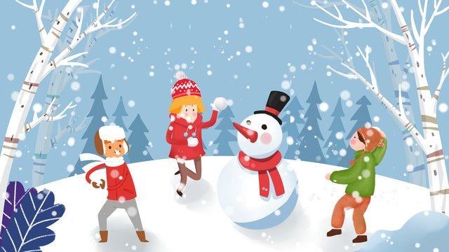 snowman snowballs hand drawn small fresh illustration winter snow scene llustration image