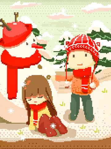 snowman snowball fight winter snowing christmas pixel wind illustration llustration image
