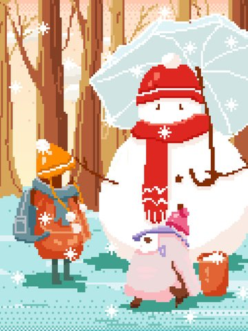snowman snowball fight winter snowing christmas holiday pixel wind illustration llustration image