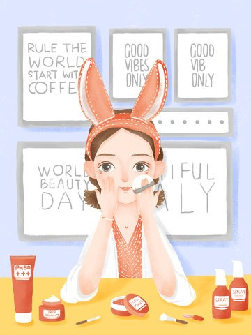 cute girl indoor makeup beauty skincare psd llustration image