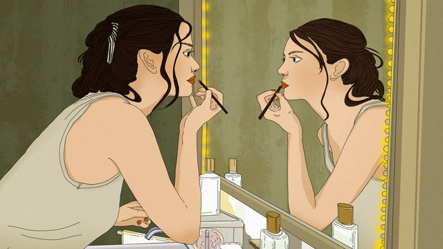 Original girls hand-painted illustration in makeup, Make Up, Teenage Girl, Cosmetic illustration image