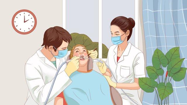 医療現場、手描きのストローク、現実的な医師と患者 イラスト素材
