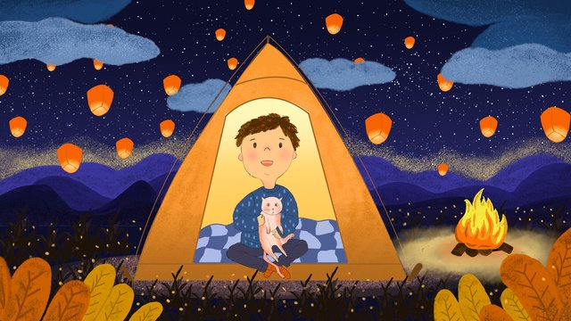 Meng pet accompanied by warm scene star boy, Meng Pet Companionship, Warm And Warm, Little Boy illustration image