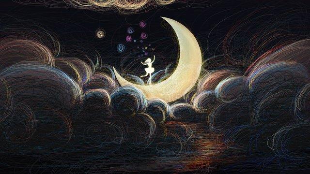月の上で踊っている元のコイルイラスト女の子 イラスト素材