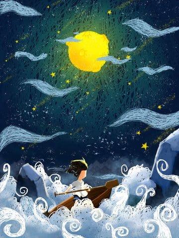 Coil illustration, Moon, Ferry, Coil Impression illustration image