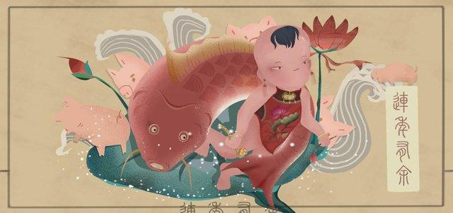 매년 돼지의 축복 다지 춘절  daji spring festival  국가 스타일의 평면 일러스트레이션을위한 황금 잉여가있다 삽화 소재 삽화 이미지