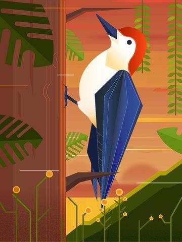 vector illustration of a woodpecker under the nature animal forest at dusk llustration image