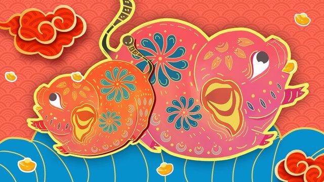 ano do porco estilo chinês zodíaco Material de ilustração Imagens de ilustração