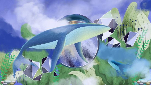 ocean Cloud whale Healing, Seaweed, Illustration, Whale illustration image