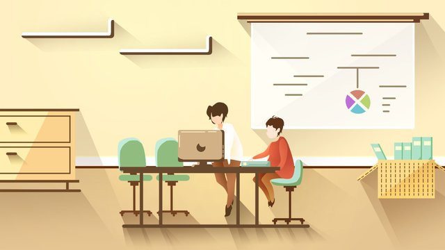 office work solid color warm yellow bright meeting overtime flat fresh llustration image illustration image