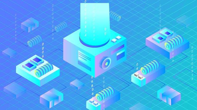 Artificial intelligence 2.5d blue tone virtual, Original, Business Illustration, Wallpaper Poster illustration image