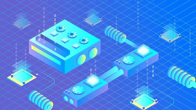 Artificial intelligence virtual 2.5d blue tone, Original, Business Illustration, Wallpaper Poster illustration image