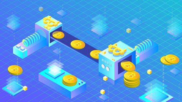 금융 bitcoin 생산 라인 2 5d 삽화 소재