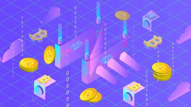 금융 bitcoin 가상 2 5d 삽화 소재