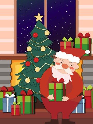 Original hand drawn illustration christmas paper cut style, Original Hand Drawn Illustration, Christmas, Paper-cut Wind illustration image