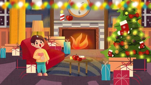 Original illustration christmas atmosphere holiday festival tree, Original Illustration, Festival, Christmas illustration image