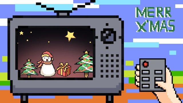オリジナルイラストレトロピクセルゲーム風のクリスマス イラストレーション画像