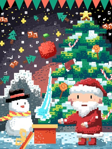 元のレトロなピクセルクリスマスイブの図 イラストレーション画像 イラスト画像
