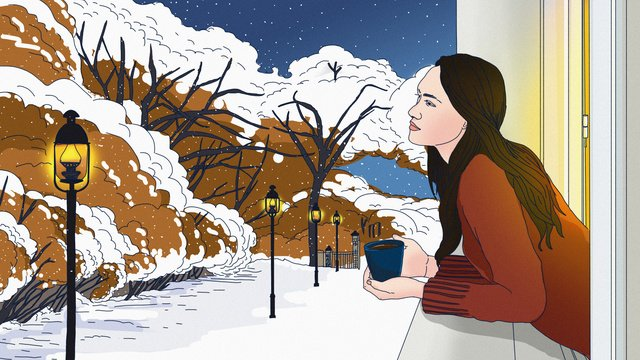 Original winter enjoy the window outside street view snow maiden hand painted illustration llustration image