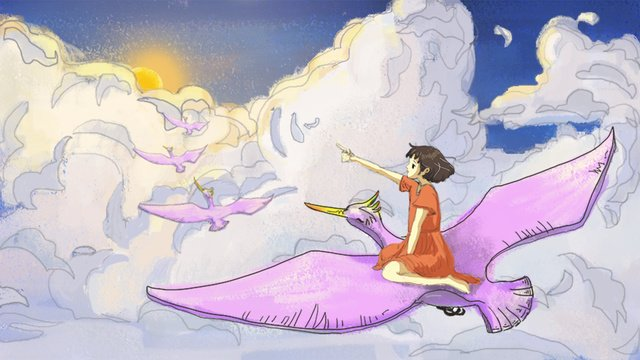 일몰의 잔광은 하늘로 덮여있다 삽화 소재