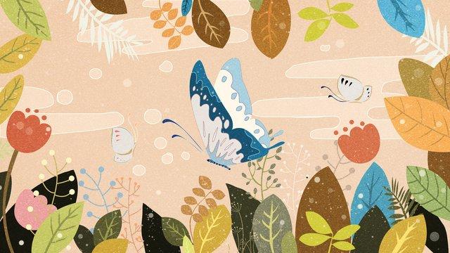 花の元の自然な印象図蝶 イラストレーション画像