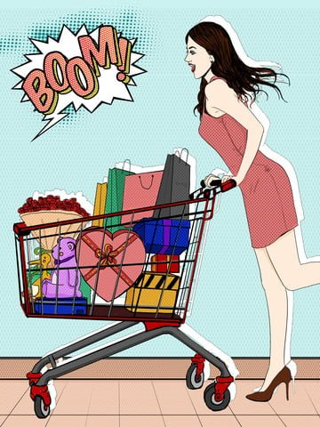 Pop style fashion shopping city girl discount season snapped goods illustration, Pop Wind, Fashion Shopping, E-commerce Promotion illustration image