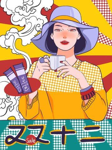 ポップアップコーヒー醸造eコマースフェスティバルコーヒーガールイラスト イラスト画像