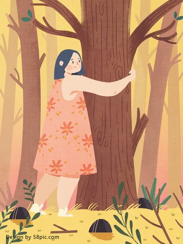 chăm sóc môi trường cô gái ôm cây lớn Hình minh họa