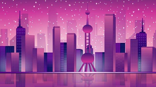 Purple city silhouette original flat vector illustration llustration image