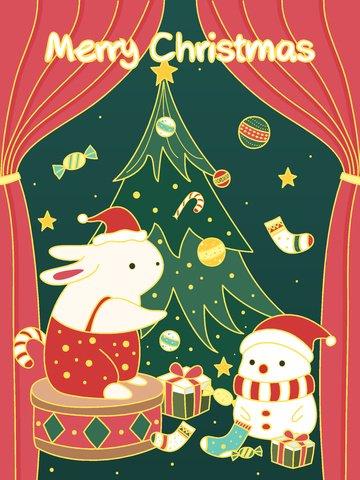 オリジナルイラストクリスマスの輝く漫画バニー雪だるまイラスト イラスト素材