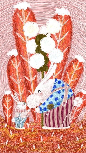 白ウサギとマシュマロの小さな新鮮なコイルの図 イラスト画像
