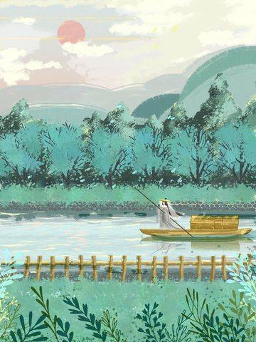 Retro atmosphere chinese style journey scenery maiden girl llustration image