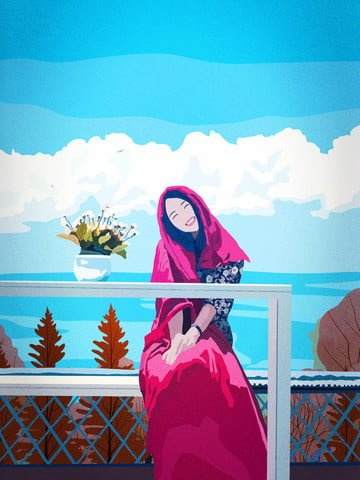 retro realistic illustration of the beauty cure travel good morning hello illustration image