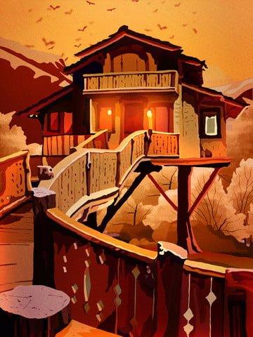 木の家の秋の夜の美しい風景のレトロなリアルなイラスト イラスト素材 イラスト画像