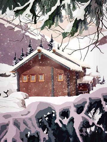 Retro realistic illustration of an english cottage with beautiful snow scene, Retro, Realistic, Illustration illustration image