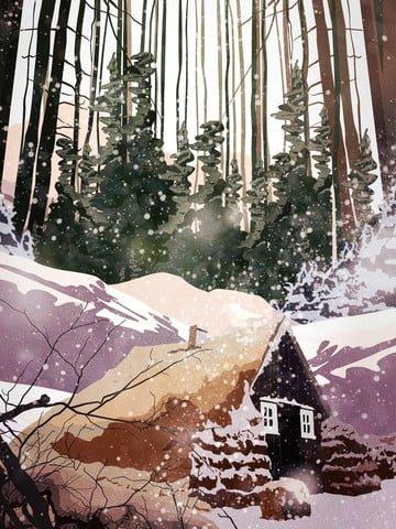 깊은 산 별장의 복고풍 현실적인 그림 아름다운 눈이 조용한 장면 삽화 소재