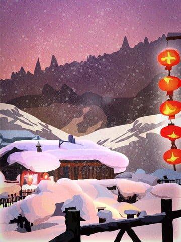 深い山の古代の家の旧正月の風景のレトロなリアルなイラスト イラストレーション画像