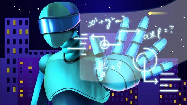 Robotics technology creates artificial intelligence modern original material in the future, Robot, Technology, Future illustration image