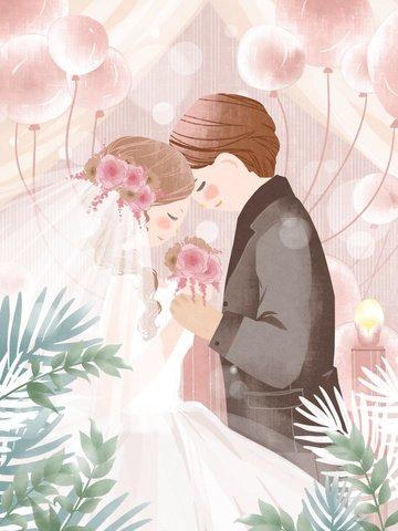 ロマンチックな夢の結婚式ピンクの風船のウェディングドレスオリジナルの手描きのイラスト イラスト素材