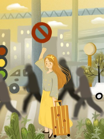 安全な旅行かわいい漫画の女の子が道路の運転を指示 イラストレーション画像 イラスト画像