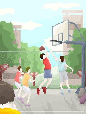 캠퍼스 라이프 80 복고풍 픽셀 바람 농구 삽화 소재