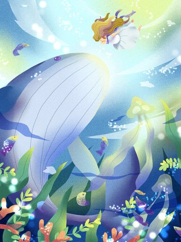 When the sea meets whale deep ocean girl encounters big whale., Sea Blue, Meet, Whale illustration image