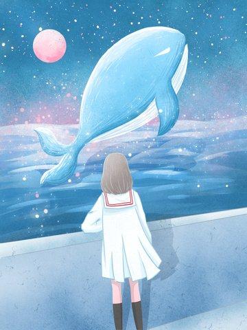 イラストレーターを癒しながらクジラ海辺でクジラを見る女の子 イラストレーション画像 イラスト画像