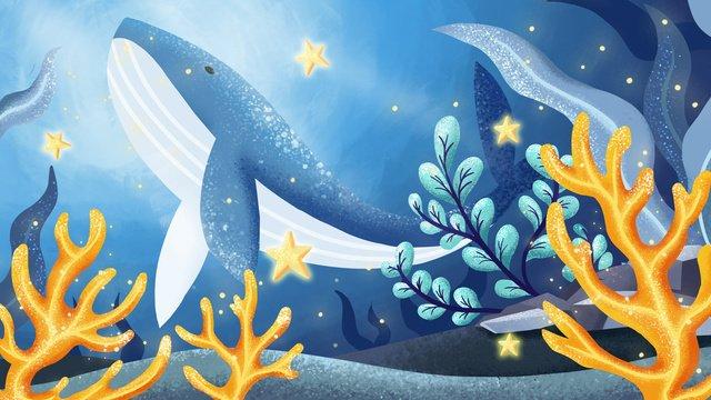 海藍珊瑚礁治愈系鯨魚 插畫素材 插畫圖片