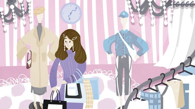 Double eleven shopping small fresh cute illustration, Shopping, Carnival, Girl illustration image