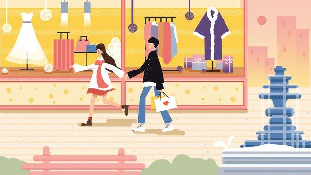compras shopping center janela ilustração de pessoa Material de ilustração