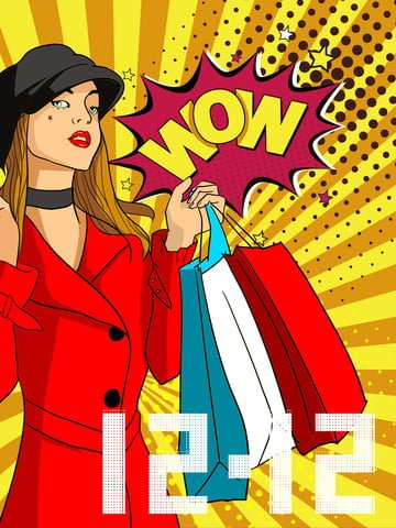 Illustration originale de style pop double douze fille commerçanteLes  Achats  Double PNG Et PSD illustration image