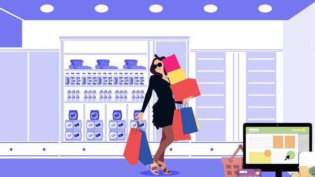 쇼핑 계산원 평면 그림 삽화 소재 삽화 이미지