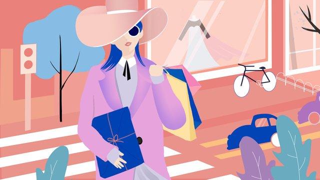 쇼핑 현장 패션 뷰티 벡터 일러스트 레이션 삽화 소재